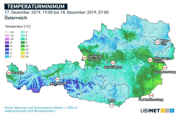 Die höchsten Tiefstwerte in der Nacht von Dienstag auf Mittwoch. © UBIMET