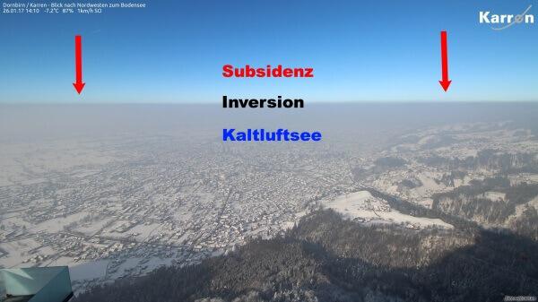 Inversion mit Subsidenz. © UBIMET / www.foto-webcam.eu