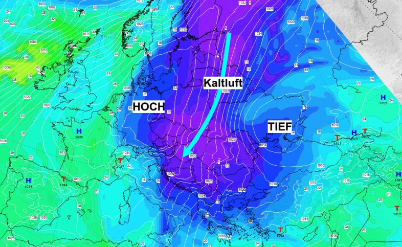 Aus Nordosten kommt deutlich kältere Luft zu uns.