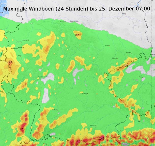24h Sturmböen ©Ubimet/ICON