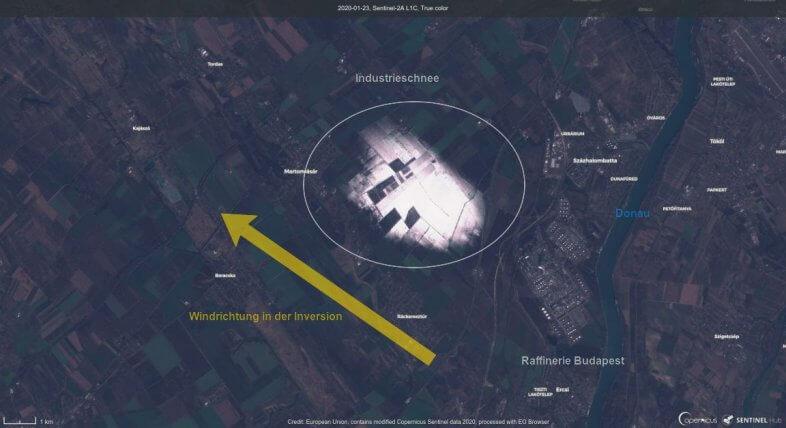 Industrischnee knapp südlich von Budapest am 23.01.2020 - ESA Sentinel-2 Satellit