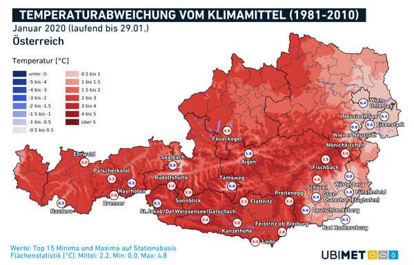 Abweichung der Temperatur vom Klimamittel @ UBIMET