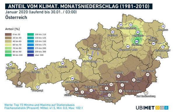 Anteil vom klimatologischen Monatsniederschlag @ UBIMET