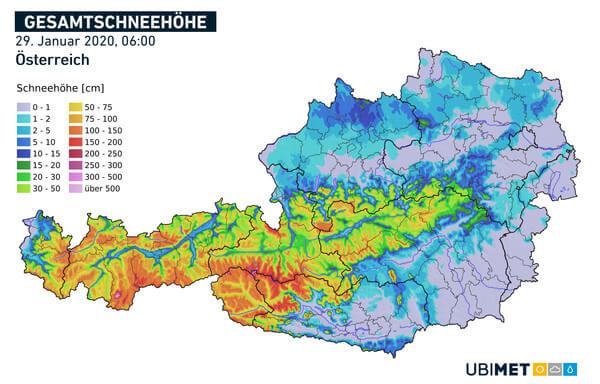Analyse der Gesamtschneehöhe am Morgen des 29.01.2020 @ UBIMET