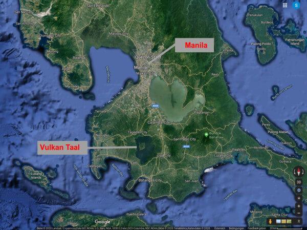 Lage des Vulkans auf den Philippinen @ google.at