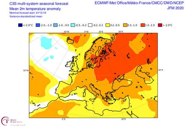 Prognose der 2m-Temperatur-Anomalie Jänner-März @ https://climate.copernicus.eu/charts/c3s_seasonal/