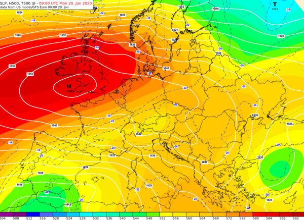 Luftdruck am Montagmorgen nach GFS @ UBIMET, NCEP