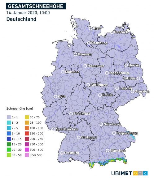 Kaum Schnee in Deutschland.