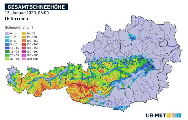 Analyse der Gesamtschneehöhe am 13.01.2020 @ UBIMET