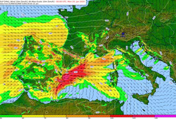 Maximale Böen über 6 Stunden bis Montag, 0 UTC @ ECMWF, UBIMET