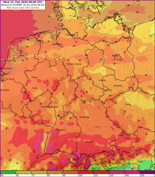 24h maximale Böen [km/h] am Dienstag 10.02.2020 nach dem Modell ECMWF - UBIMET