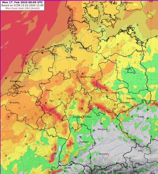 Maximale Windböen am Sonntag, ICON-Modell @ DWD