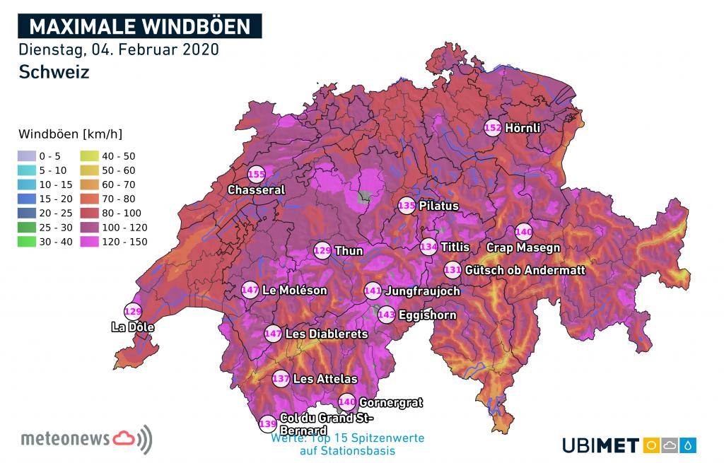 Maximale Windböen vom Dienstag © Ubimet