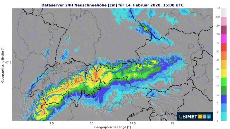 24-stündige Neuschneemengen bis Freitagnachmittag.