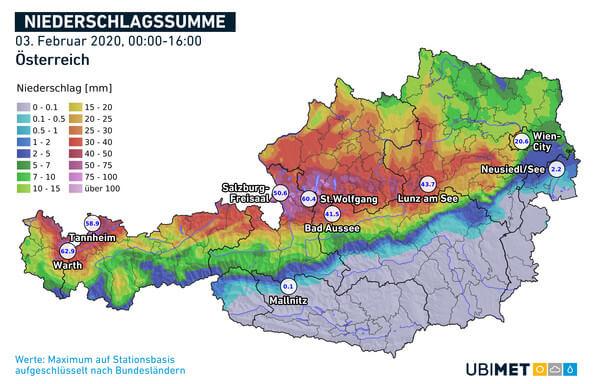 Analysierte Niederschlagssumme bis Montag, 16 Uhr