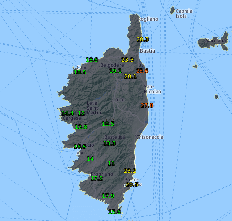 Tagesmaximum auf Korsika bis 11.02.2020 um 18 Uhr MEZ - UBIMET, Meteofrance