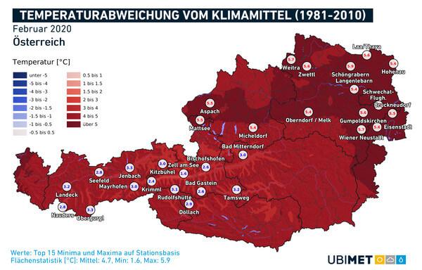 Abweichung der Monatsmitteltemperaturvom Klimamittel 1981-2010 im Februar 2020 @ UBIMET