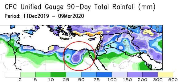 Die Niederschläge der letzten 90 Tage bis zum 09.03.2020 über Nordafrika - NOAA/CPC
