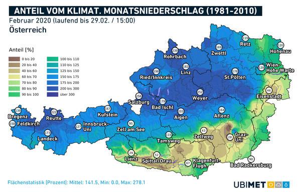 Anteil des Monatsniederschlags vom klimatologischen Mittel 1981-2010 im Februar 2020 @ UBIMET