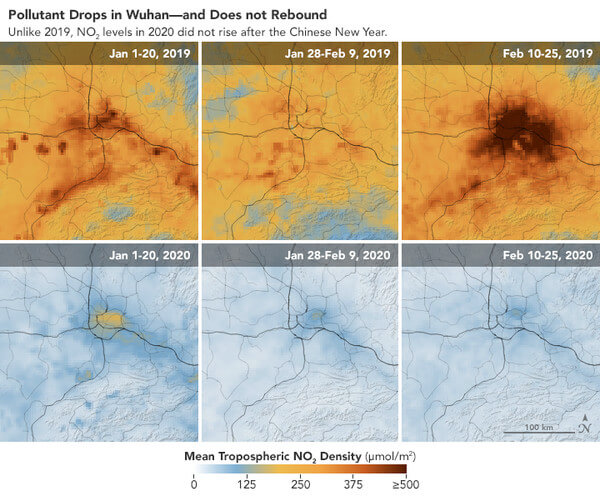 NO2-Konzentration über Wuhan im Vergleich @ https://earthobservatory.nasa.gov/images/146362/airborne-nitrogen-dioxide-plummets-over-china
