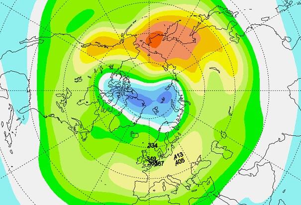 Seltenes Ozonloch über dem Nordpol