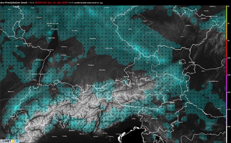 Erwarteter Niederschlag bis zum Ostersonntag.