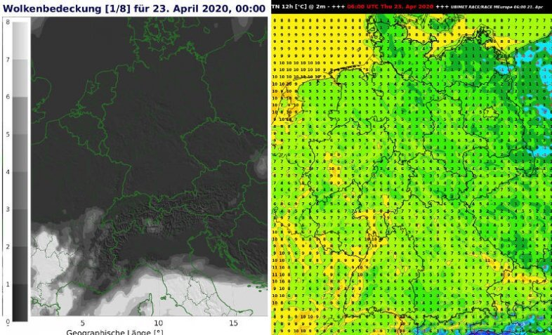 Wolkenbedeckung am Donnerstag um 2 Uhr MESZ und Temperaturminimum der Nacht auf Donnerstag - UBIMET