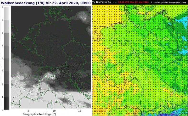Wolkenbedeckung am Mittwoch um 2 Uhr MESZ und Temperaturminimum der Nacht auf Mittwoch - UBIMET