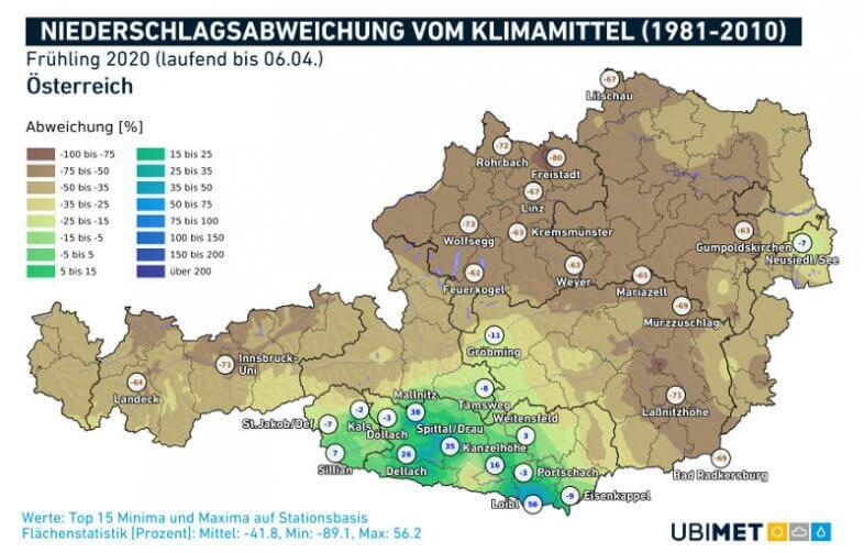 Niederschlagsabweichung im Frühling 2020 im Vergleich zum langjährigen Mittel.