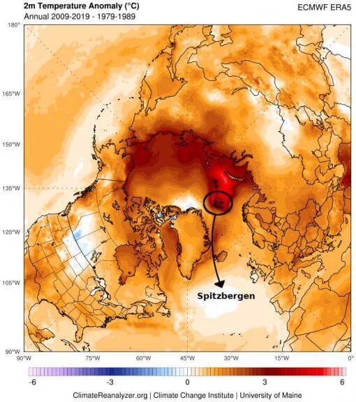 Temperaturdifferenz zwischen 2009-2019 und 1979-1989 für die Arktis - climatereanalyzer.org
