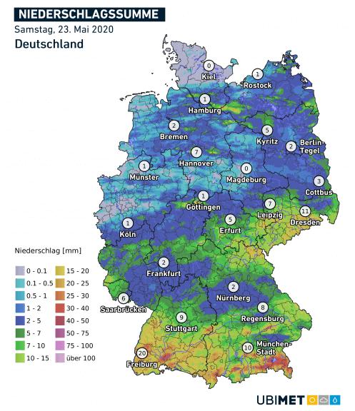 24h Niederschlagssumme für den 23.05.2020 - UBIMET, DWD