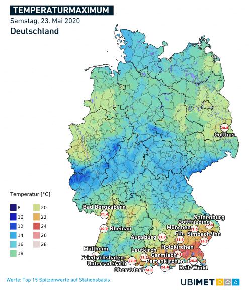 Temperaturmaxima am 23.05.2020 - DWD, UBIMET