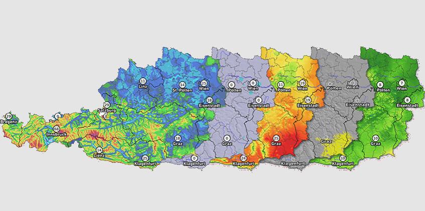 Aktuelle Wetterdaten aus Österreich
