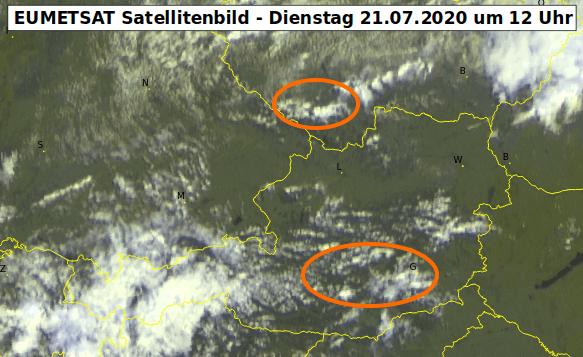 Satellitenbild um 12 Uhr - EUMETSAT, UBIMET