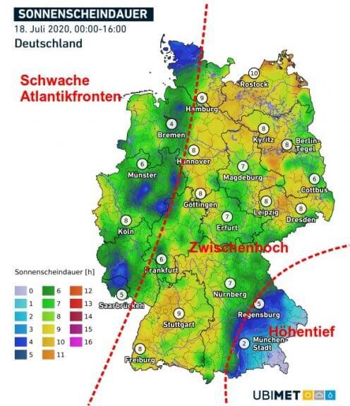 Sonnenstunden bis 16 Uhr in Deutschland - DWD, UBIMET