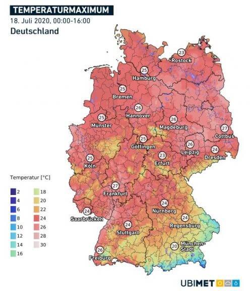 Höchstwerte am 18.07. in Deutschland - DWD, UBIMET