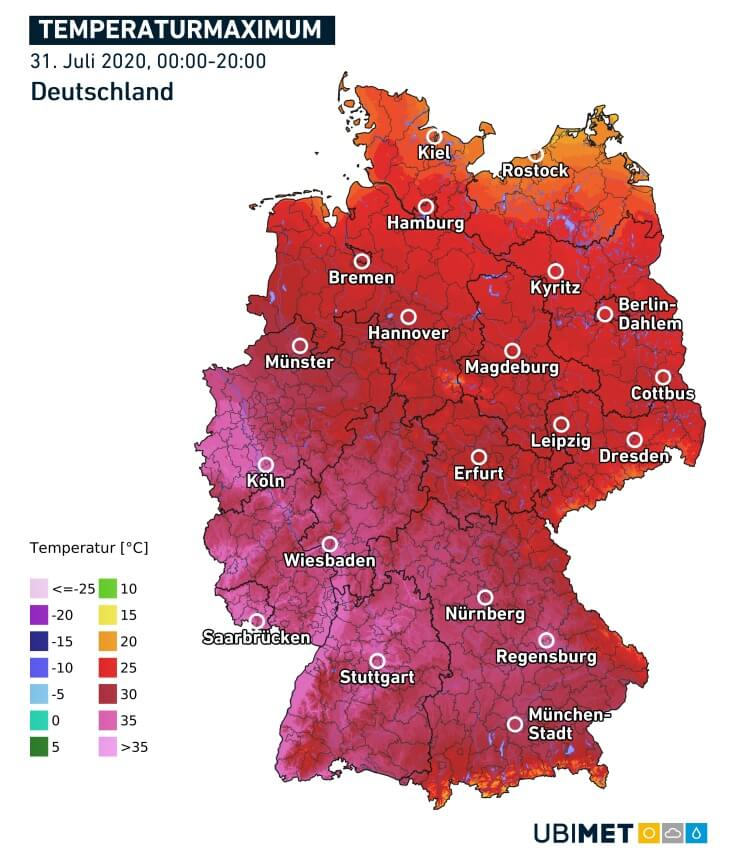 Maximaltemperaturen am 31.7.2020 © UBIMET/DWD