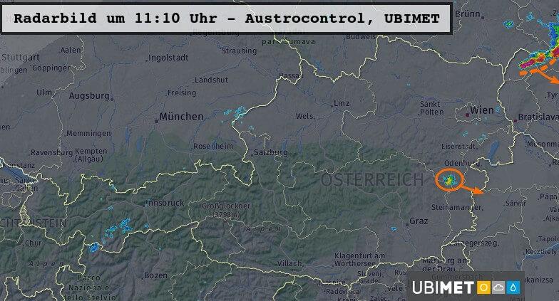 Radarbild um 11:10 Uhr - Austrocontrol, UBIMET
