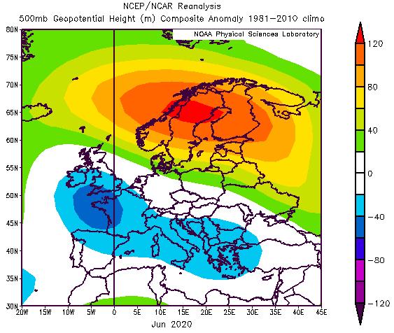 Anomalien der geopotentiellen Höhe in 500hPa für den Juni 2020. Höhentiefs waren in den blauen Regionen häufiger als in einem durchschnittlichen Juni - NOAA-PSL https://psl.noaa.gov/