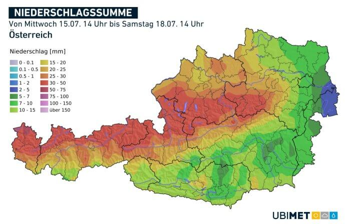 Vorhergesagte Niederschlagsmengen vom Mittwochmittag bis Samstagmittag - UBIMET