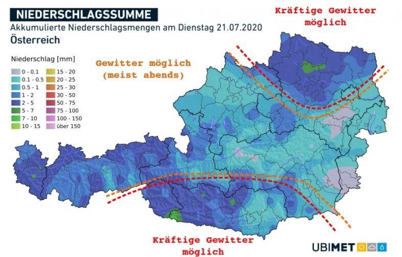Vorhergesagte Niederschlagsmengen und Gewittergefahr am Dienstag - UBIMET