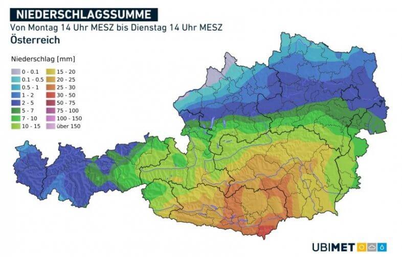 Vorhergesagte, 24-stündig akkumulierte Niederschlagsmengen bis Dienstag 07.07.2020 14 Uhr MESZ - UBIMET