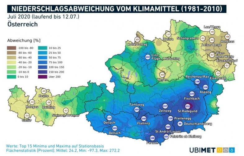 Abweichung der Niederschläge im Vergleich zum Klimamittel bis zum 12.07.2020 - UBIMET