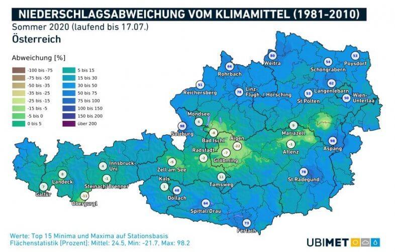 Niederschlagsabweichung für den laufenden Sommer bis zum 17.07. - UBIMET