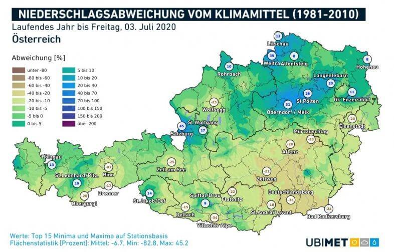 Niederschlagsanomalien für das Jahr 2020 bis zum 04.07. - UBIMET