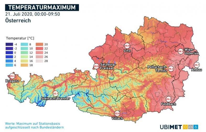 Temperaturhöchstwerte am heutigen Dienstag bis 9:50 Uhr - UBIMET