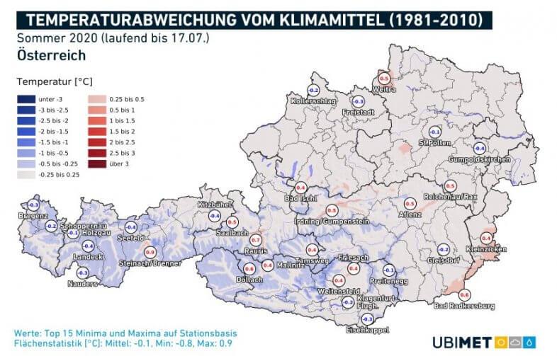 Temperaturanomalie für den laufenden Sommer bis zum 17.07. - UBIMET