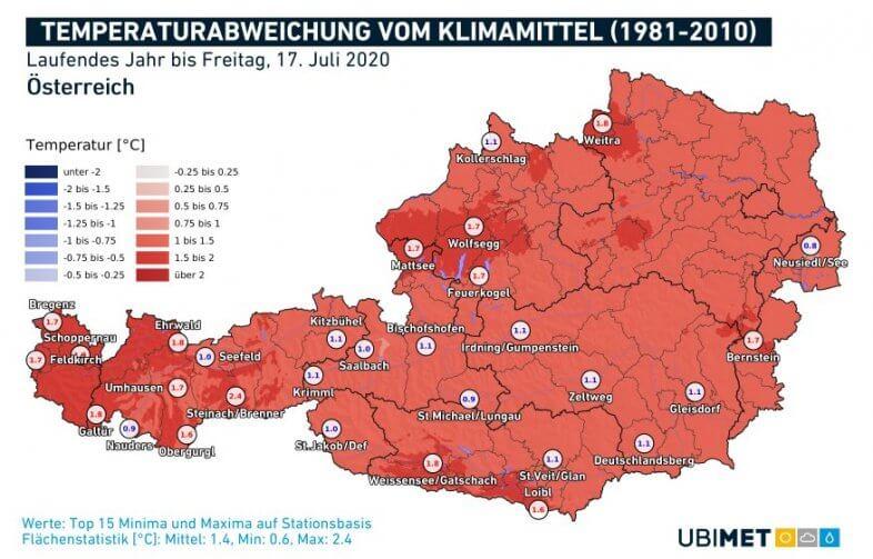 Temperaturanomalie für das laufende Jahr bis zum 17.07. - UBIMET