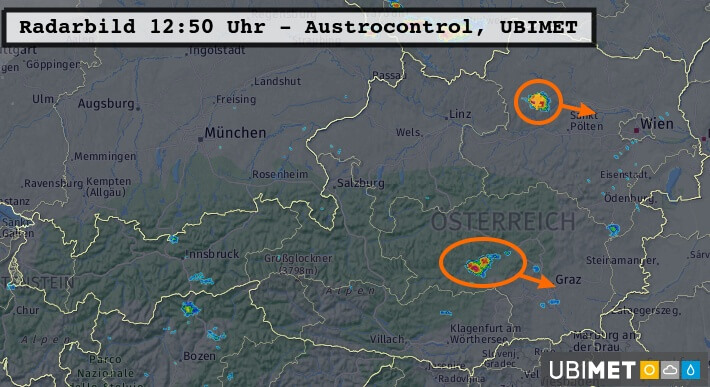Radarbild um 12:50 Uhr - Austrocontrol, UBIMET