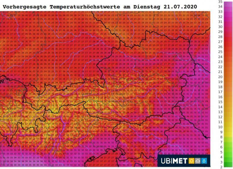 Temperaturhöchstwerte am Dienstag - UBIMET